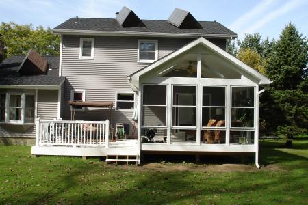 Sunroom deck addition after